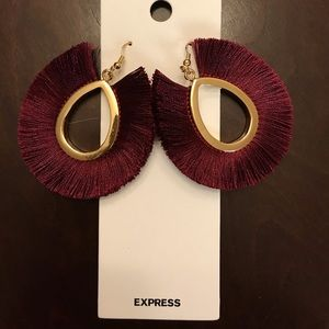 EXPRESS Burgundy Fringe Earrings